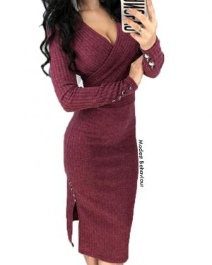 V Neck Sweater Dress Top