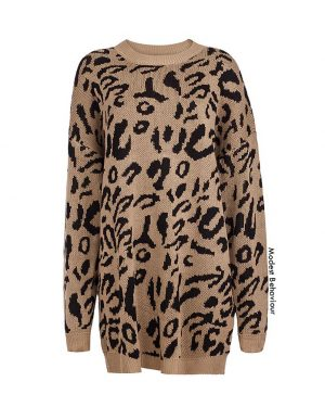 Leopard Knit Pullover Sweater