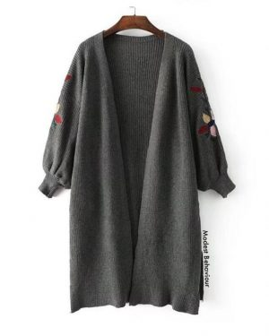 Embroidered Lantern Sleeve Winter Cardigan