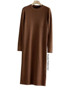 Casual Ribbed Long Sweater Dress