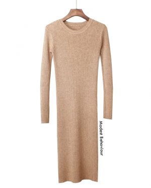 Classy Ribbed Long Sweater Dress