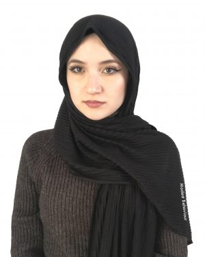 Black Crinkled Jersey Hijab