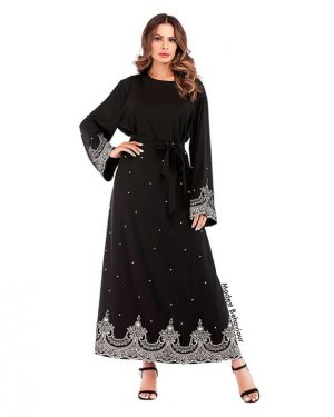 Black Abaya Dress Embroidered with Pearls
