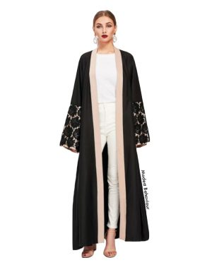 Black Floral Lace Sleeve Abaya With Blush Trim