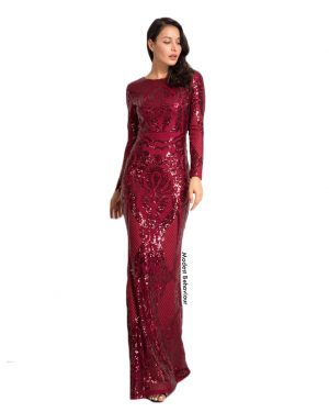 Colored Pattern Sequins Evening Gown