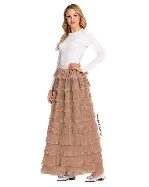 High Waisted Layered Ruffled Skirt