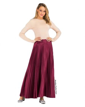 High Waisted Pleated Satin Skirt