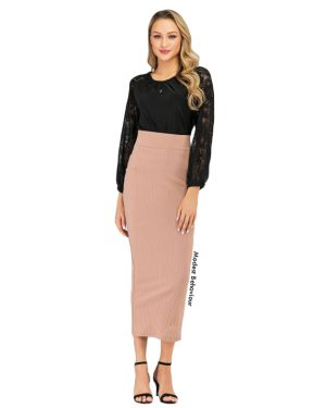 High Waisted Ribbed Pencil Skirt