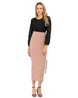 High Waisted Ribbed Pencil Skirt