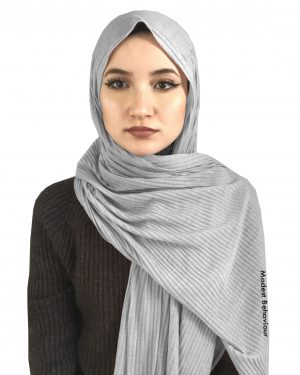 Silver Crinkled Jersey Hijab