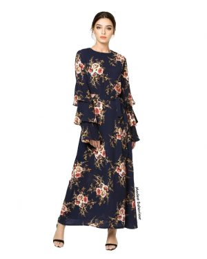 Triple Flared Sleeve Floral Maxi Dress