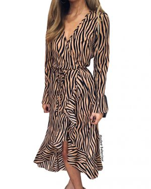 Zebra Long Dress Top