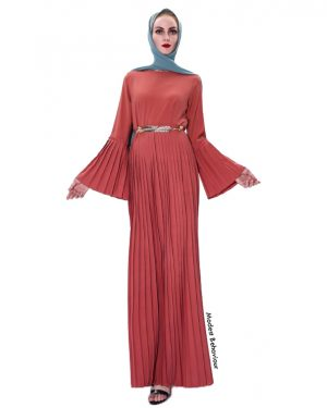 Flared Sleeve Pleated Maxi Dress