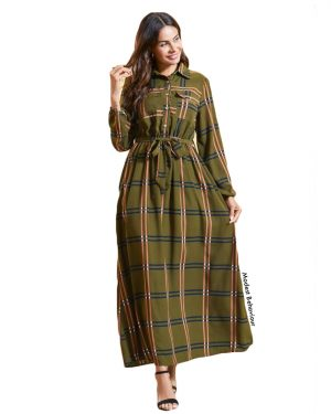 Retro Plaid Maxi Dress