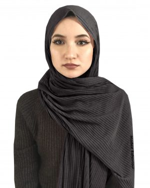 Stormy Gray Crinkled Jersey Hijab