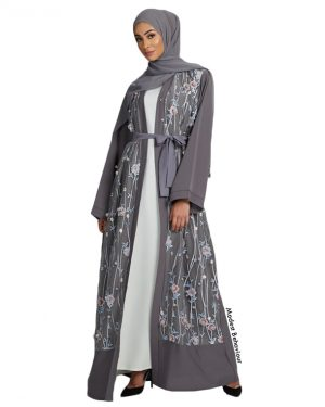 Stormy Gray Floral Abaya