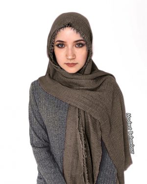 Dark Hazelnut Brown Crinkle Hijab