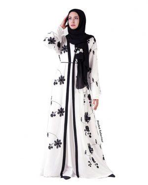 Floral Embroidered Chiffon Abaya