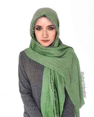 Olive Green Crinkle Hijab