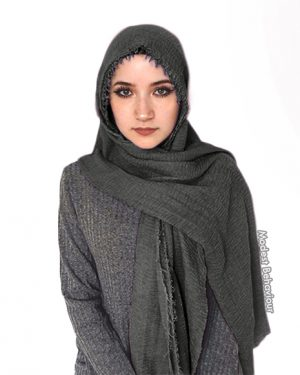 Stormy Gray Crinkled Hijab