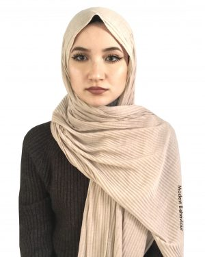 Beige Crinkled Jersey Hijab