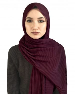 Burgundy Crinkled Jersey Hijab