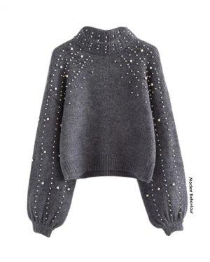 Lantern Sleeve Pearl Sweater