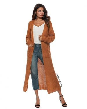 Long Knitted Slit Cardigan