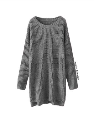 Long Knitted Sweater With Slits