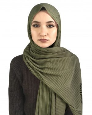 Oregano Green Crinkled Jersey Hijab