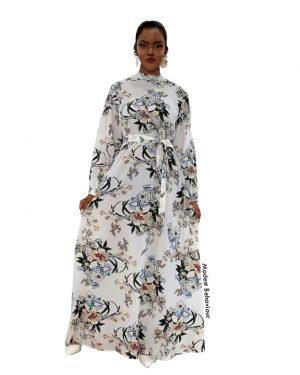 Vintage Floral White Maxi Dress