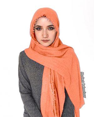 Coral Crinkle Hijab