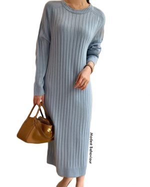 Long Ribbed Sweater Dress