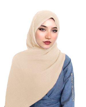 Beige Crinkled Chiffon Hijab