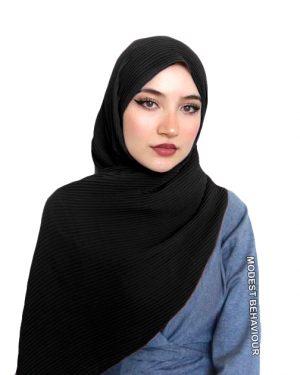 Black Crinkled Chiffon Hijab