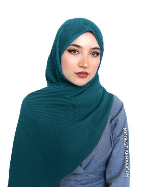 Teal Crinkled Chiffon Hijab