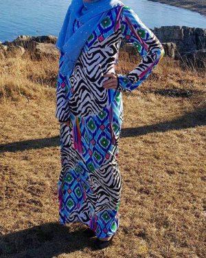 Abstract Zebra Pattern Maxi Dress