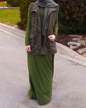 Army Green Maxi Dress and Vest