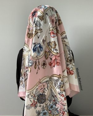 Baby Pink Floral Square Hijab