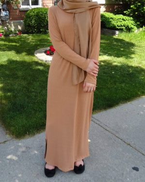 Caramel Ribbed Maxi Dress