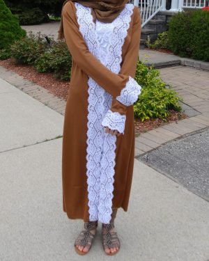 Chocolate Lace Trimmed Abaya