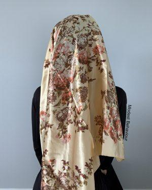 Golden Floral Square Hijab