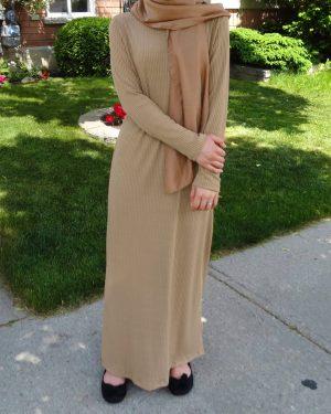 Khaki Ribbed Maxi Dress