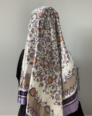Lavender Patterned Square Hijab