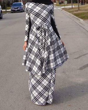 Plaid Ruffled Maxi Dress