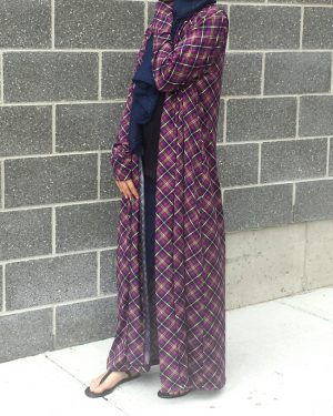 Purple Plaid Long Cardigan