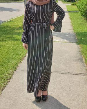Retro Striped Maxi Dress