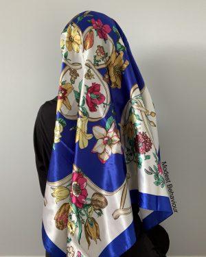 Royal Blue Floral Square Hijab
