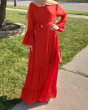 Ruffled Red Maxi Dress