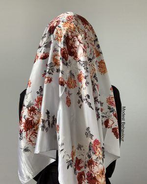 Silver Floral Satin Square Hijab